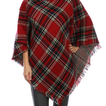 Gaby Plaid Blanket Poncho - Red