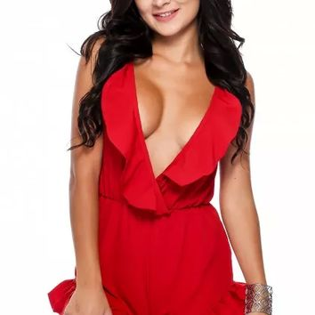 Sexy Red Ruffled Plunging Sleeveless Casual Romper