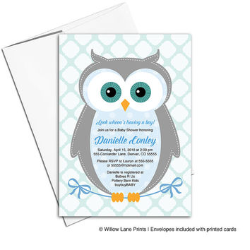 Unique baby shower invitations owl | boy baby shower invites | blue, gray, aqua | Evite, DIY printing or printed - WLP00784