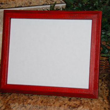 Rustic home decor: Vintage country cottage chic red 8x10 hand-painted decorative wooden wall collage gallery picture frame