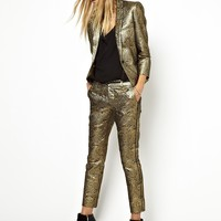 Zadig and Voltaire Trousers in Gold Brocade