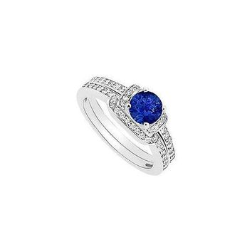 Sapphire and Diamond Engagement Ring with Wedding Band Set : 14K White Gold - 0.60 CT TGW