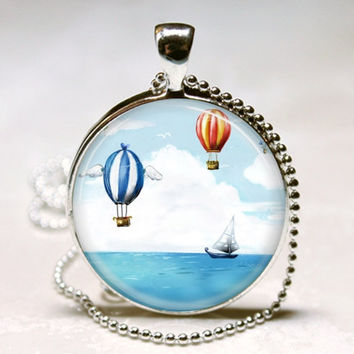 Nautical Jewelry Sail Boat and Hot Air Balloons Ship, Sailing, Boating, Ocean Art Pendant With Ball Chain Necklace Included