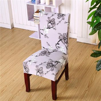Floral Printed Universal Spandex Stretch Short Removable Elastic Cloth Chair Covers Banquet Style Chair Covers 1 pc
