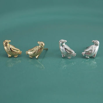 Sterling Silver, Gold Filled Tiny Dainty Penguin Stud Earrings, Tiny Gold Stud Earrings, Dainty Everyday Earrings