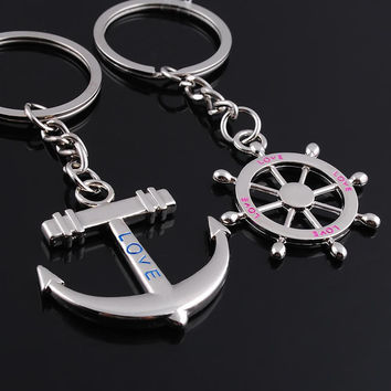 Key Chain Ring Keychain Fashion Metal Couples Lovers Anchor/Rudder Love Gift for Valentines day  SN9