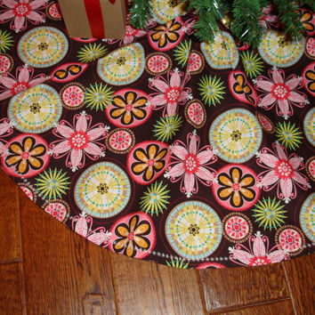 Mod Christmas Tree Skirt Brown Pinks & Greens by KaysGeneralStore