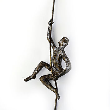 Metal sculpture - Climbing man on rope - home decor - metal wall art - wall hanging