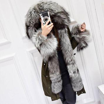 Winter Coat Women Luxurious Silver
