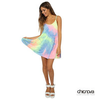 Women Rainbow Color Leisure Slim Straps Dress Bohemian Dress Tide Strapless Dresses = 1928595972