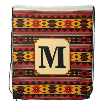 Southwest Design Red Black Gold Monogram Cinch Bag