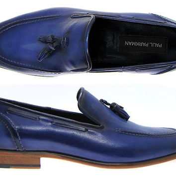 Paul Parkman Men's Tassel Loafer Black Burnished Navy Calfskin Leather Upper & Natural Leather Sole