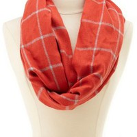 Orange Two-Tone Plaid Infinity Scarf by Charlotte Russe