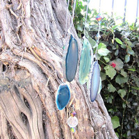 Wind Chime Agate Slice Teal Blue Garden Wedding Accessory Sounds of Tranquil Beauty