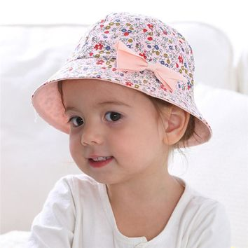 1070d2d8bd9 Summer Baby Girls Sun Hat Cotton Baby Hat Kids Child Cap Bowknot Flower  Print Bucket Hat