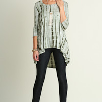 High Low Tie Dye Tunic - Olive