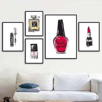 Perfume Nail Polish Lipstick Mascara Salon Wall Art Canvas Painting Nordic Posters And Prints Wall Pictures For Bedroom Decor