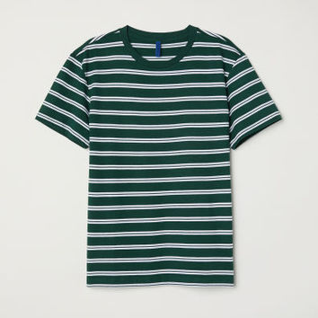 Striped T-shirt - Dark green/White striped - Men | H&M GB