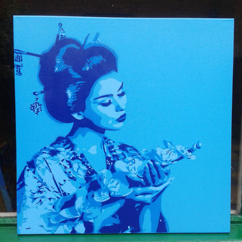 Geisha with lilies,painting,square canvas,stencil art,spray paints,woman,pop,asian,oriental,flowers,kimono,beauty,blues,street art,Japanese
