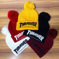 Winter Unisex Fluffy Thrasher Embroidery knitted Beanies Hat