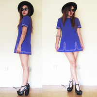 Vintage 60's mod purple violet embroidered twiggy hippie gogo mini dress