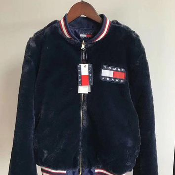 Tommy Jeans 90s Fashion Capsule Reversible Zipper Cardigan Coat Bomber Jacket I