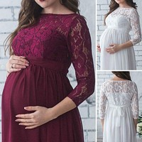 Lace Maternity Dresses Maternity Photography Props Pregnancy Dress Maxi Photography Photo Pregnant Mommy Maternity Clothes