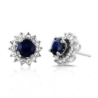 1.00ct TW Genuine Blue Sapphire Stud Earrings with White Sapphire Jackets in Sterling Silver