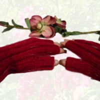 Hand Knit Cranberry Hobo or Fingerless Gloves, Gift for Women