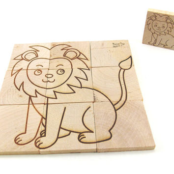 Two-Sided Animal LION and MONKEY Handcrafted Wooden Puzzle