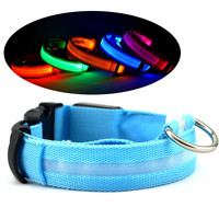 Nylon Flashing Glow Led Dog Collar Harness For Small Dogs Night Safety Puppy Supplies Dog Leash Battery Pet Products Cat