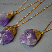 Raw Natural Amethyst Necklace | Gold Plated Gemstone | Gold Crystal Necklace | Gold Plated Amethyst | Purple Crystal Necklace | Quartz