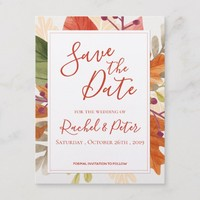 Autumn Leaves Fall Wedding Save the Date Card