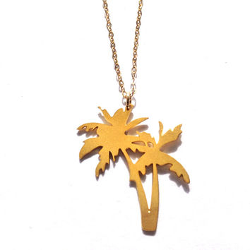 Gold Palm Trees Necklace Palm Tree Sterling Silver Necklace Tree Jewelry Tree Charm Beep Studio Art Tree Necklace Small Minimalist Pendant