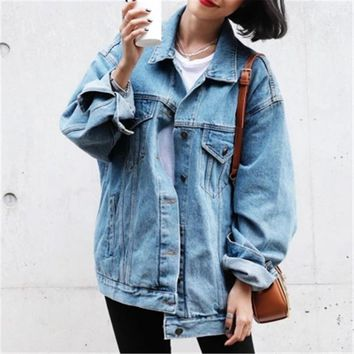 2018 Oversized Basic Coats Denim Jacket Coat Female Casual Outwear Loose Light Blue Plus Size Women Jeans Jacket ZY4159