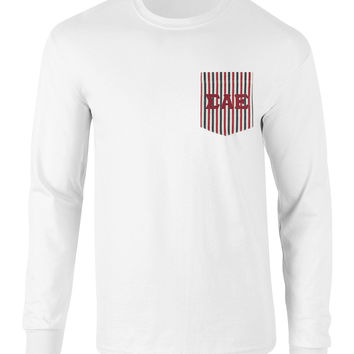 Sigma Alpha Epsilon American Flag Theme Long Sleeve Pocket Tee