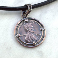 Lucky Penny necklace, US Penny pendant, Custom made pendant, Coin holder, Penny holder,  Vintage coin, Birth Year coin, US coin necklace