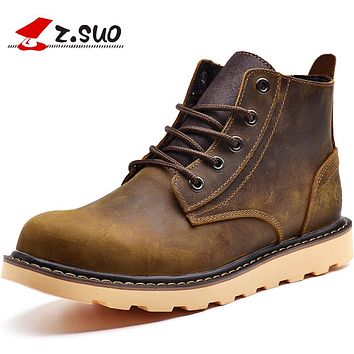 Keep Warm Men Winter Boots High Quality Genuine Leather Wear Resisting Casual Shoes Working Fashion Men Snow Boots