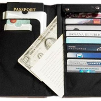 Mayflower CNF Travel - 1*Oxford Fabric Luggage Travel Passport Wallet 1 *RFID Blocking Credit Card Sleeve 1 *Passport Protector for Protect And Secure Your Identity Against Radio Frequency - L*Black
