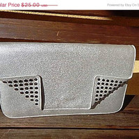 ON SALE Silver Clutch - Evening Bag - Silver Studded Handbag - Vintage Silver Clutch - Party Bag