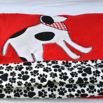 Red puppy dog ultra cuddle fleece baby blanket, Quilted toddler blanket, travel blanket, baby blanket, quilt
