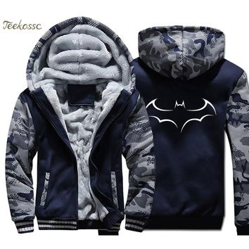 Super Hero Batman Hoodie Men The Dark Knight Sweatshirts Coat 2018 Winter Warm Fleece Thick Print Camouflage Jacket Streetwear