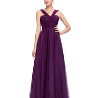 Grace Karin Sexy V Neck Purple Bridesmaid Dresses 2017 Cheap Long Wedding Guest Dresses Under 50 Robe Demoiselle D'honneur