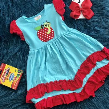 Back To School Apple Of My Eye Ruffle Dress