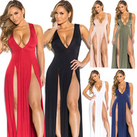 Deep V-neck Sleeveless Split Sexy Long Dress