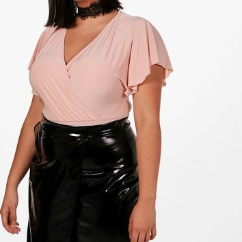 Plus Gigi Drape Sleeve Wrap Bodysuit | Boohoo