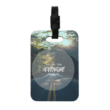 "Ann Barnes ""The Adventure Begins"" Typography Nature Decorative Luggage Tag"