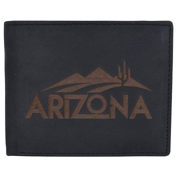 RFID Blocking Mens Genuine Leather Arizona Logo Credit Card ID Bifold Wallet