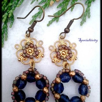 Hand beaded Victorian wreath dangle earrings gold filigree connectors
