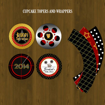 Hollywood Red Carpet Printable cupcake Toppers and wrappers - A Star is born cupcake Toppers and wrappers for baby shower,birthdays and etc